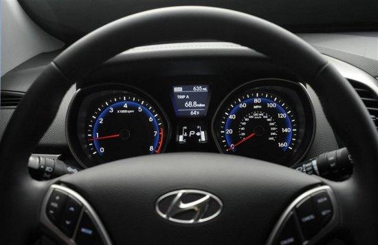 Руль и спидометр в Hyundai Elantra 2013