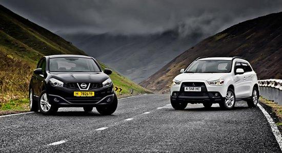 Кроссоверы Nissan Qashqai и Mitsubishi ASX