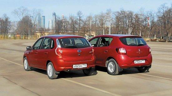 Datsun mi-DO и Renault Sandero: вид сзади
