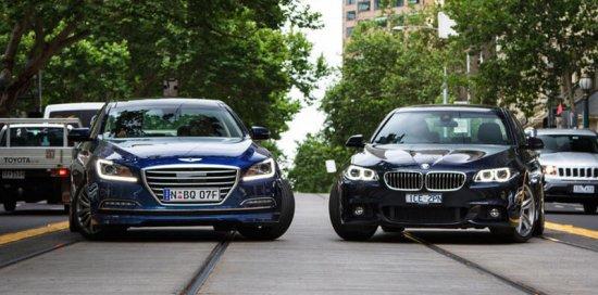 Седаны бизнес-класса BMW 5-Series и Hyundai Genesis