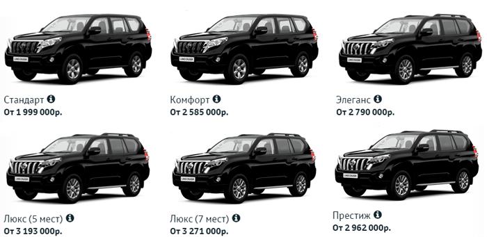 Цены на Toyota Land Cruiser Prado 2016
