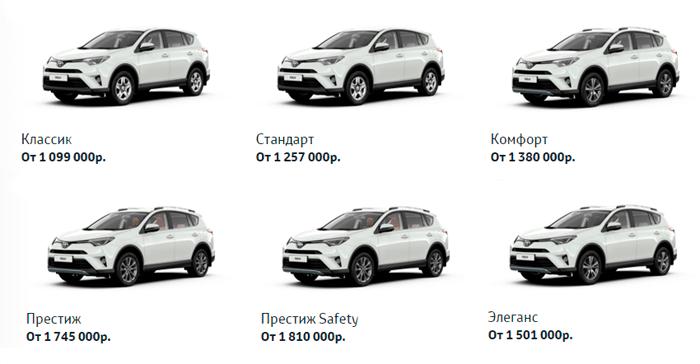 Цены на Toyota RAV4 2015