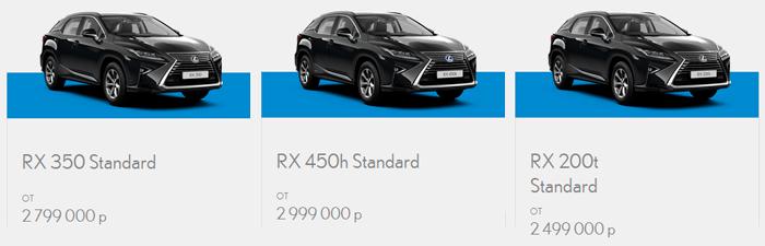 Цены на Lexus RX 2016