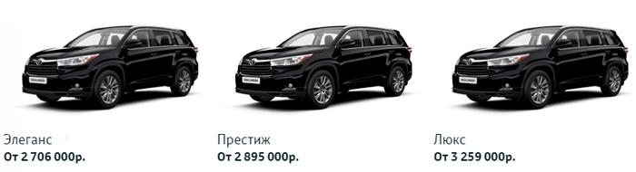 Цены и комплектации Toyota Highlander в России