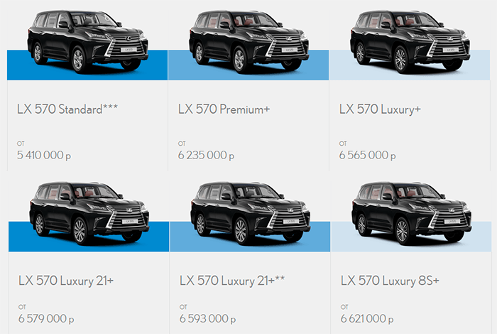 Цены и комплектации Lexus LX570 2016 года